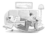 son rides hobbyhorse which looks like Dad, while Dad naps on sofa - Cartoon Premium Giclee Print by John Jonik