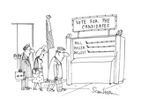 three people on line for a voting booth. Sign over the booth says 'Vote fo… - Cartoon Regular Giclee Print by Harley L. Schwadron