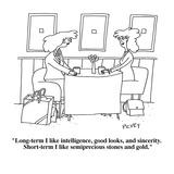 """Long-term I like intelligence, good looks, and sincerity.  Short-term I l…"" - Cartoon Giclee Print by Peter C. Vey"
