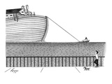 A tugboat tows Noah's Ark across the ocean. A man and his dog look on at t… - New Yorker Cartoon Giclee Print by Felipe Galindo