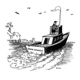 A man piloting boat which is named, 'Damn Seagulls.' - New Yorker Cartoon Premium Giclee Print by George Booth