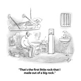 """That's the first little rock that I made out of a big rock."" - Cartoon Giclee Print by Frank Cotham"