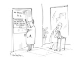 doctor puts up sign on his door, 'Considered too young to treat senior cit… - Cartoon Regular Giclee Print by Harley L. Schwadron