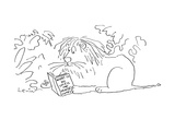Lion sits in the jungle and reads a book entitled 'What to Do Until the Mo… - Cartoon Giclee Print by Arnie Levin