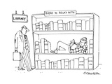 In a library a man sees another man reclining and reading on a shelf of bo… - Cartoon Regular Giclee Print by Harley L. Schwadron