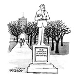 "Statue titled ""The Unknown Academic Infighter."" - New Yorker Cartoon Premium Giclee Print by Mischa Richter"