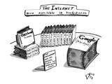 A table is seen covered with books relating to internet-only content, such… - New Yorker Cartoon Regular Giclee Print by Farley Katz