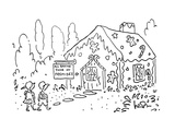 Hansel and Gretel approach a gingerbread house with a sign that says; 'All… - Cartoon Giclee Print by Arnie Levin