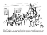 """O.K., I'll explain it one more time. Sometimes even very successful caree…"" - New Yorker Cartoon Regular Giclee Print by Farley Katz"