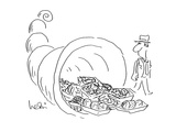 Man observes cornucopia with Plastic-wrapped fruits. - Cartoon Regular Giclee Print by Arnie Levin