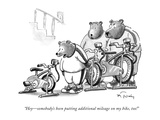 """Hey—somebody's been putting additional mileage on my bike, too!"" - New Yorker Cartoon Premium Giclee Print by Mike Twohy"