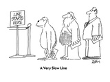 A Very Slow Line - Cartoon Regular Giclee Print by Bob Zahn