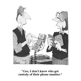 """Gee, I don't know who got custody of their phone number."" - Cartoon Regular Giclee Print by William Haefeli"