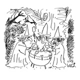 Three witches beating on a 'kettle' drum. - Cartoon Regular Giclee Print by Arnie Levin