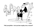 """""""Well, young fellow — have you been naughty, nice, or neutral"""" - Cartoon Regular Giclee Print by Bob Zahn"""
