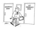 Doctor walks past two doors in hospital hallway. One reads: 'Emergency Roo… - Cartoon Regular Giclee Print by Bob Zahn