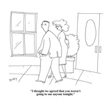 """""""I thought we agreed that you weren't going to sue anyone tonight."""" - Cartoon Giclee Print by Peter C. Vey"""