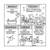 Different phases of technology from Monday through Friday; begins with New… - Cartoon Regular Giclee Print by Ted Goff