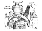A cowboy rides a horse whose rear end is plastered with bumper stickers. - New Yorker Cartoon Regular Giclee Print by Farley Katz