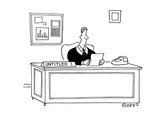 Man sitting at desk reading a letter; on his desk there a sign that reads … - Cartoon Regular Giclee Print by Ted Goff