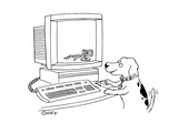 Dog plays with computer:  knocks over the Macintosh trash container. - Cartoon Regular Giclee Print by Ted Goff