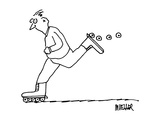 Man on inline skates losing wheels. - Cartoon Regular Giclee Print by Peter Mueller