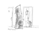 Grim Reaper and his dog show up at the front door of a man and his dog - Cartoon Regular Giclee Print by Jerry Marcus