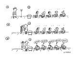 three panels:  students talking as teacher arrives, and also when he takes… - Cartoon Regular Giclee Print by David Sipress