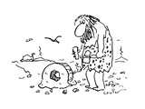 Caveman with tools in his hand stares at his wheel that somehow has gotten… - Cartoon Regular Giclee Print by Arnie Levin