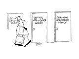 Door signs: Left Wing Intelligence Agency, Central Intelligence Agency, Ri… - Cartoon Regular Giclee Print by Bob Zahn