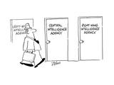 Door signs: Left Wing Intelligence Agency, Central Intelligence Agency, Ri… - Cartoon Regular Giclee Print by Bob Zahn