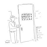 Man opens door with sign that reads 'Caution Power Ties.' - Cartoon Regular Giclee Print by Arnie Levin