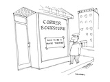man walks by the 'Corner Bookstore' which has a sign in the window reading… - Cartoon Giclee Print by Harley L. Schwadron
