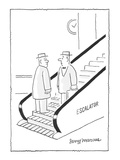 two men face each on escalator—each not knowing who's going the wrong way - Cartoon Regular Giclee Print by Jerry Marcus