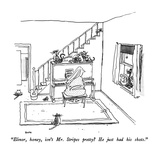 """Elinor, honey, isn't Mr. Stripes pretty  He just had his shots."" - New Yorker Cartoon Regular Giclee Print by George Booth"