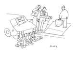 Bride and groom panhandling beside car with sign on back reading: 'Just Ma… - Cartoon Regular Giclee Print by Peter C. Vey