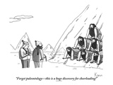 """Forget the paleontology—this is a huge discovery for cheerleading!"" - New Yorker Cartoon Premium Giclee Print by Zachary Kanin"
