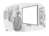 blank canvas at museum is titled &#39;Untitled&#39; - Cartoon Premium Giclee Print by John Jonik