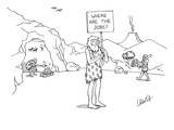 "A caveman holds up a placard that says, ""Where are the jobs"" There are ot… - New Yorker Cartoon Premium Giclee Print by Eric Lewis"