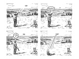 (Man shoots at a grout which then turns out to be an alien spacecraft that… - New Yorker Cartoon Premium Giclee Print by Rob Esmay