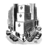 Office building on city corner is shaped like three boxes, one atop the ot… - New Yorker Cartoon Premium Giclee Print by Joseph Farris