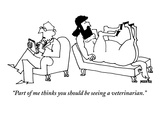 A centaur reclines on a couch. His psychiatrist sits beside him in the opp… - New Yorker Cartoon Premium Giclee Print by Ariel Molvig