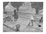 A man walking his dog sees a mysterious figure with bird feet feeding pige… - New Yorker Cartoon Premium Giclee Print by Jason Patterson