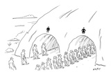 People are in line at two tunnels going through a cave: one is marked for … - New Yorker Cartoon Premium Giclee Print by Kim Warp