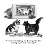"""I know it's illogical, but I feel guilty about wearing a fur coat these d…"" - New Yorker Cartoon Premium Giclee Print by Kenneth Mahood"