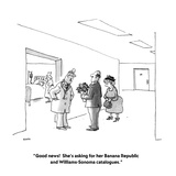 """Good news!  She's asking for her Banana Republic and Williams-Sonoma cata…"" - New Yorker Cartoon Premium Giclee Print by George Booth"