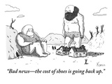 """Bad news—the cost of shoes is going back up."" - New Yorker Cartoon Premium Giclee Print by Zachary Kanin"