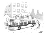 A city bus is seen with a rooftop bubble extension containing two arguing … - New Yorker Cartoon Giclee Print by Glen Le Lievre