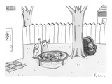 Two children excitedly look at a web disguised as a trampoline, while a sp… - New Yorker Cartoon Premium Giclee Print by Zachary Kanin