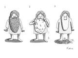 1. Man with long beard holds razor and shaving cream. 2. Shaves.  3. With… - New Yorker Cartoon Premium Giclee Print by Zachary Kanin